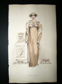 Ackermann 1813 Hand Col Regency Fashion Print. Opera Dress 9-6